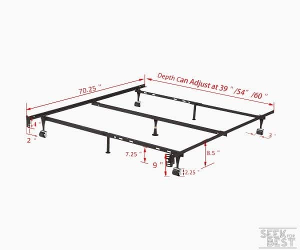 11. Kings Brand Furniture Adjustable Metal Bed Frame