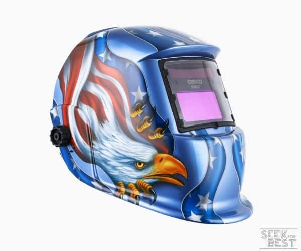 9. Solar Powered Welding Helmet Auto Darkening Hood with Adjustable Shade Range by DEKOPRO