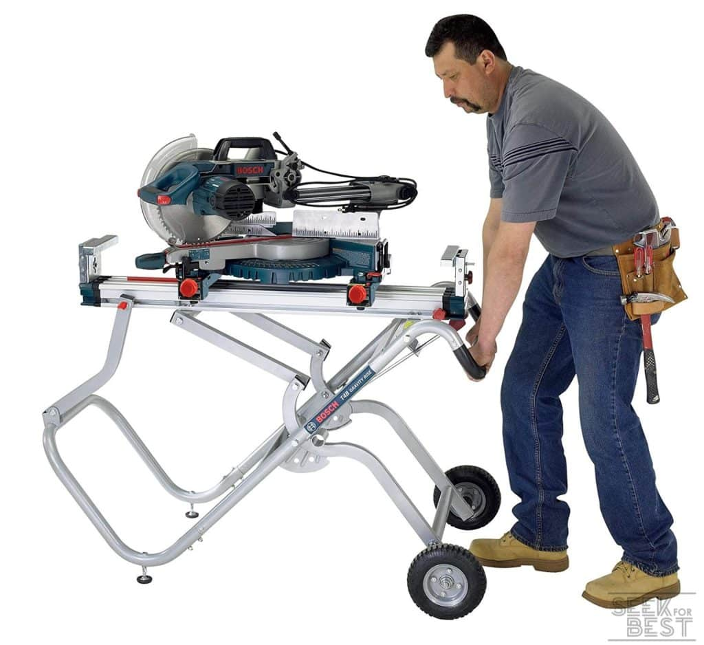 1. Bosch T4B Gravity-Rise Portable Miter Saw Stand