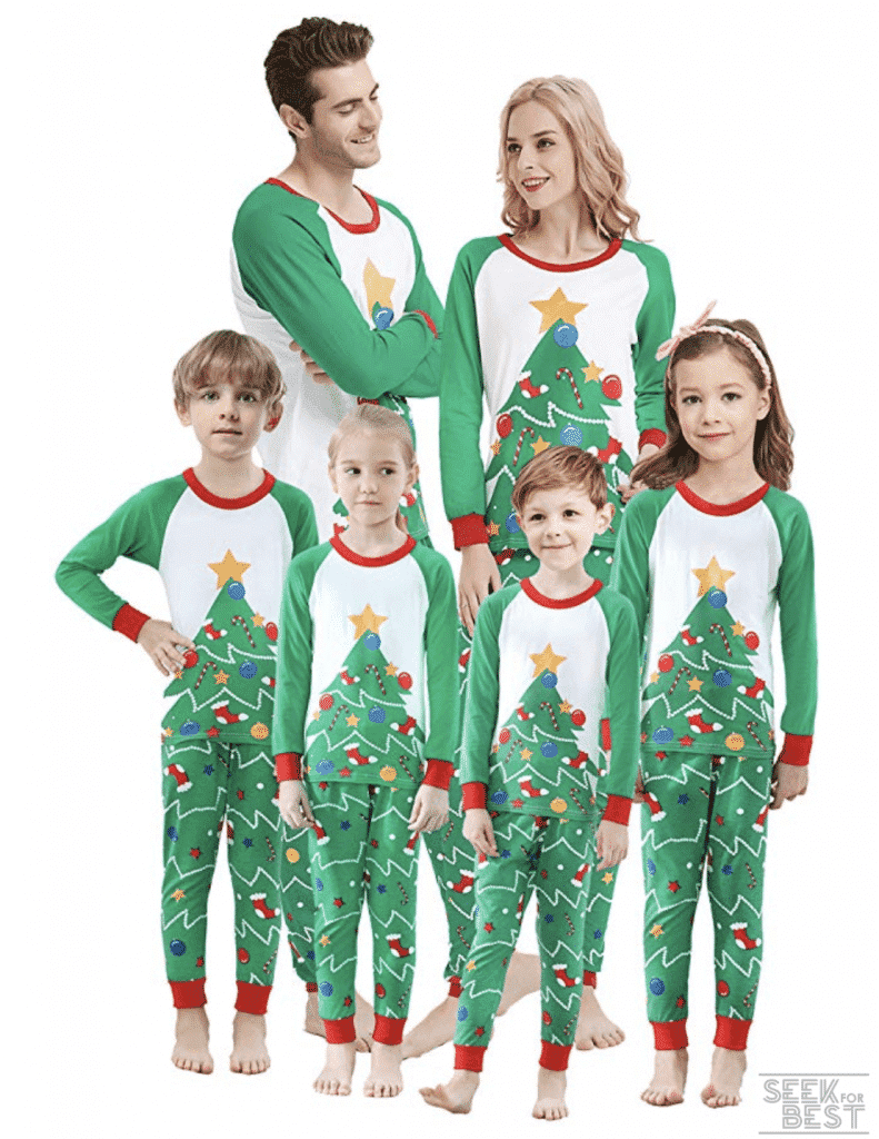 10. Shelry Family Christmas Tree Pajamas