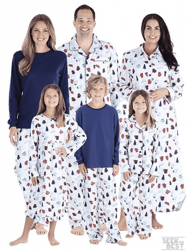 40. SleepytimePJs Hot Cocoa Winter Flannel Christmas Family Matching Pajama Sets