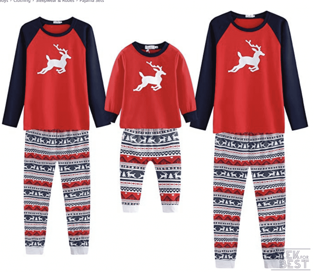 32. Baywell Elk Pattern Christmas Family Pajamas Set