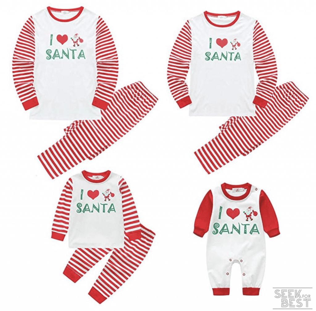 18. Baywell I Love Santa Christmas Family Matching Pajamas Set