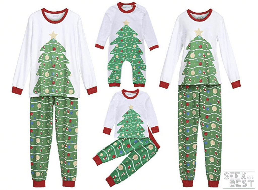 38. Heartell Christmas Tree Family Matching Pajamas