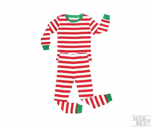 9. Elowel Pajamas Unisex Striped Christmas Pajama Set