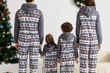 19. Yaffi Matching Family Onesie Footed Pajamas and Hoodie Sleeper