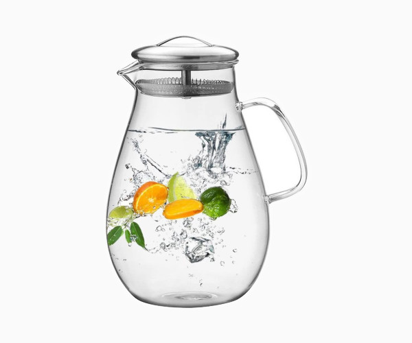 2. Hiware 64 Ounces Glass Pitcher with Stainless Steel Lid