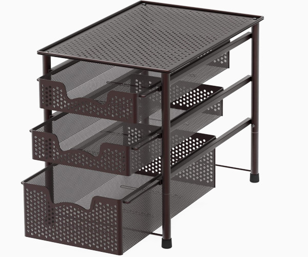 2. Simple Houseware Chrome 3-Tier Sliding Basket Organizer