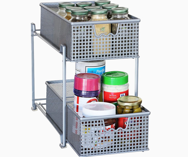 3. Deco Brothers 2-Tier Sliding Cabinet Basket Organizer