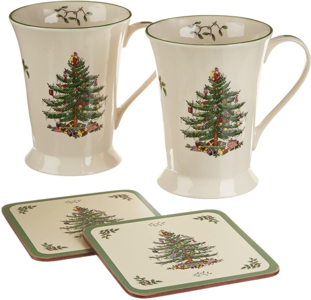 Spode Christmas Tree Mug and Coaster Set