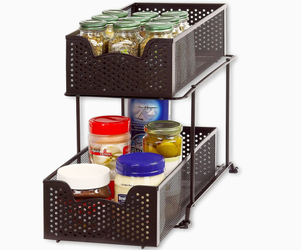 4. Simple Houseware 2-Tier Sliding Cabinet Basket Organizer