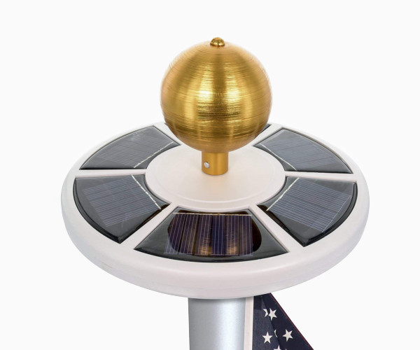5. HiMo Solar Power Flag Pole Light with Flag LED Downlights