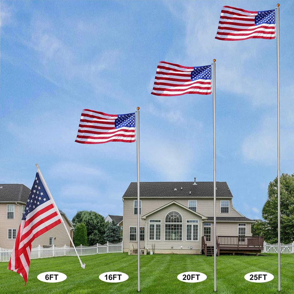 5. F2C 20FT Sectional Flagpole Kit Outdoor Halyard Pole