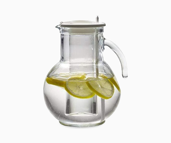6. Bormioli Rocco Kufra Glass Pitcher with Ice Container and Lid