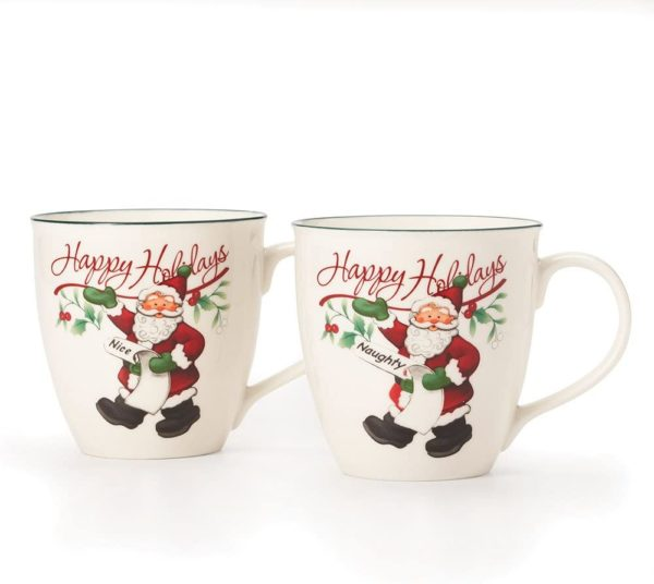 Pfaltzgraff Winterberry Mug Porcelain Naughty And Nice